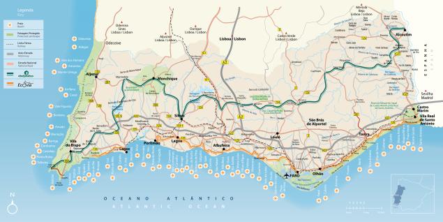 Karte der Algarve